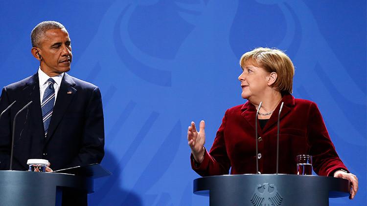Barack Obama y Angela Merkel hablan ante la prensa en Berlín, Alemania, 17 de noviembre de 2016