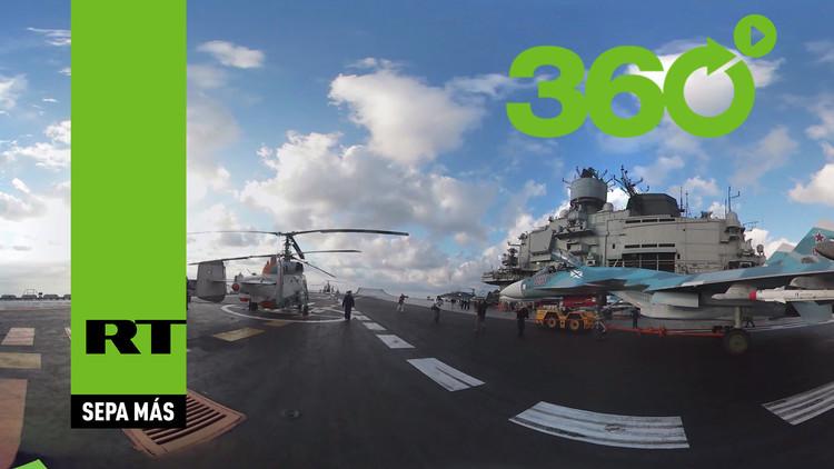Video desde el corazón del portaaviones: Actuación del ala aérea del Admiral Kuznetsov en 360º