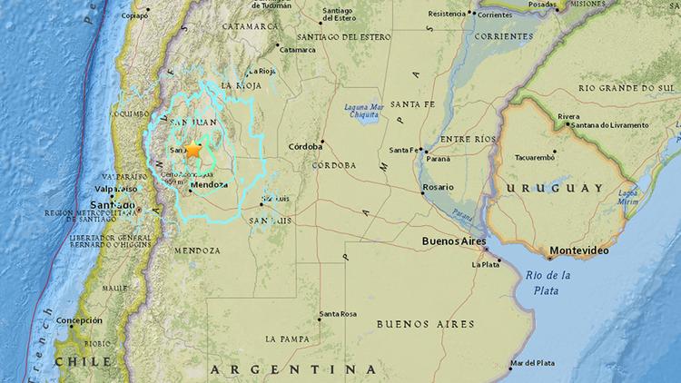 Un sismo de magnitud 6,4 sacude Argentina