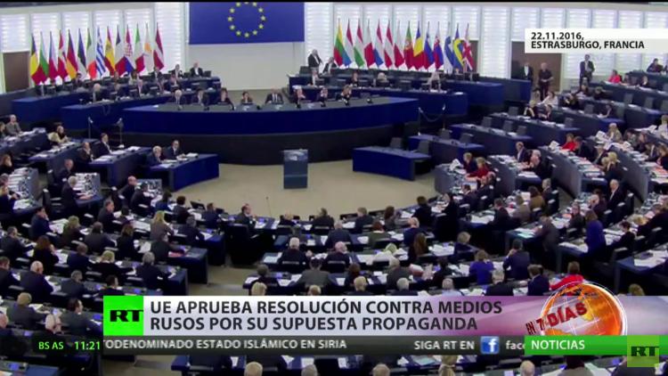 """Rusia califica de """"hipocresía"""" la resolución del Parlamento Europeo contra medios rusos"""