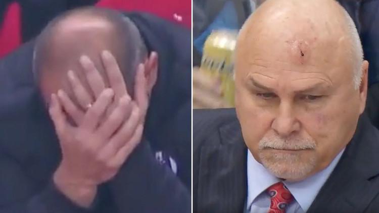 La opuesta reacción de dos entrenadores alcanzados en la cabeza por objetos 'volantes' (Videos)