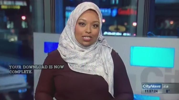 Una periodista en hiyab presenta un informativo por primera vez en la televisión de Canadá