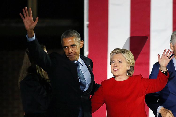 Obama y Clinton en Filadelfia durante la campaña, 2016