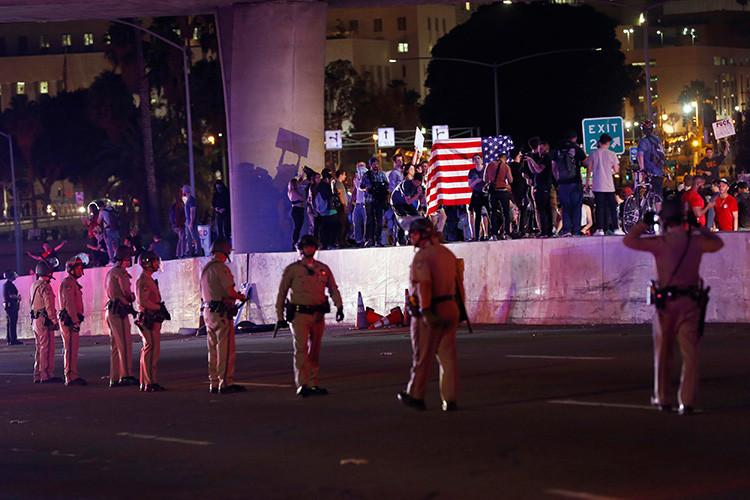 Una protesta contra Donald Trump en Los Angeles, California, EE.UU., 9 de noviembre de 2016