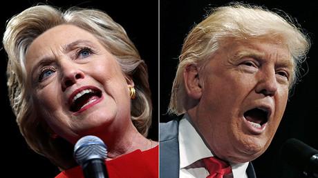 Los candidatos a la presidencia de EE.UU., Hillary Clinton y Donald Trump, durante sus campañas electorales en Westbury (Nueva York, EE.UU.) el 26 de septiembre y en Toledo (Ohio, EE.UU.) el 21 de septiembre de 2016.