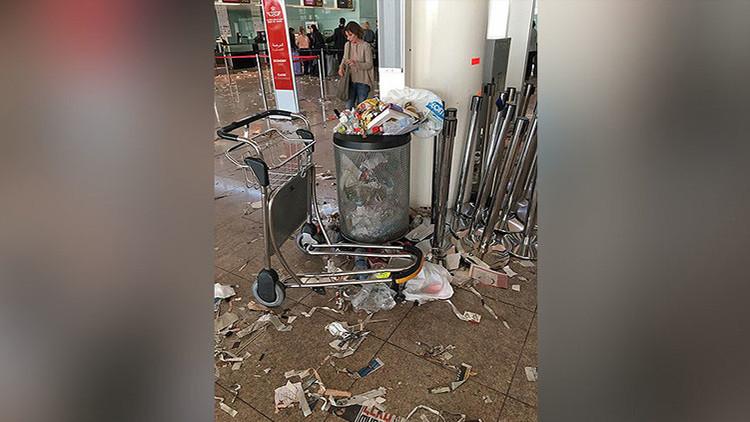 El aeropuerto de Barcelona sufre las consecuencias de una huelga de limpieza (FOTOS)
