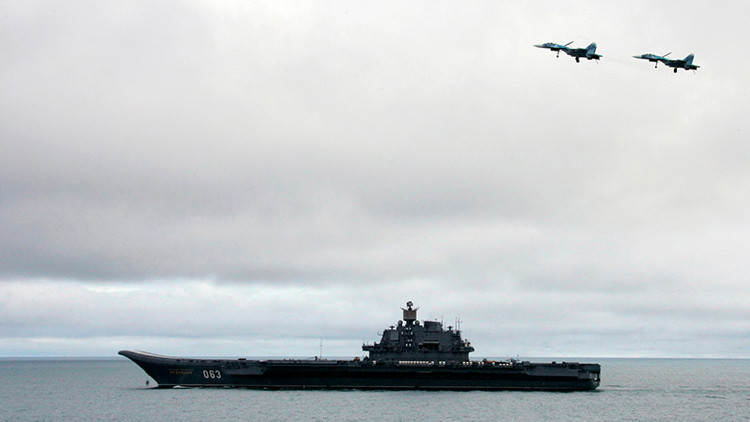 8 buques de guerra de la OTAN escoltaban al portaaviones ruso Admiral Kuznetsov al Mediterráneo