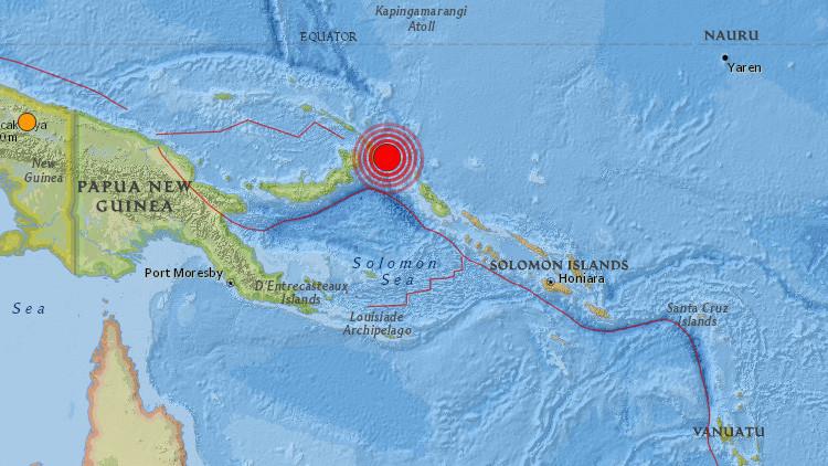 Un fuerte terremoto de magnitud 7,9 sacude Papúa Nueva Guinea