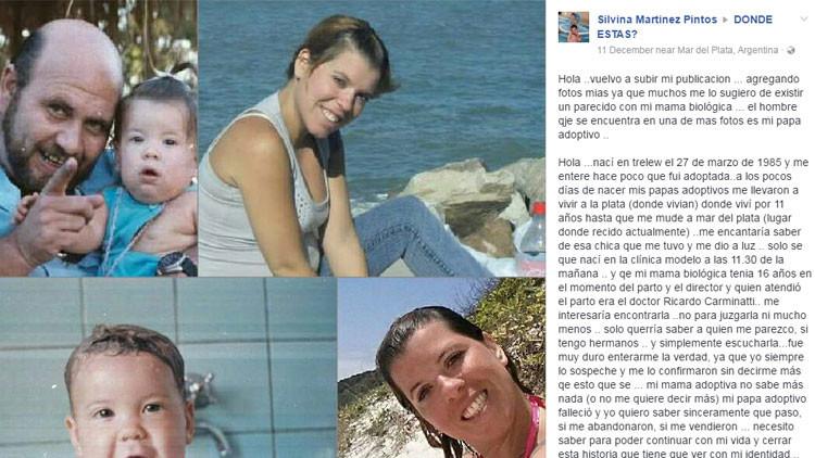 Una argentina descubre que fue adoptada gracias a una foto de Facebook
