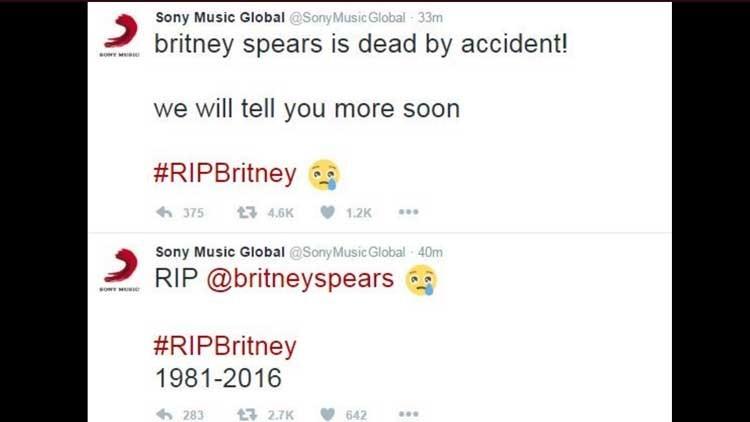 Hackean la cuenta de Twitter de Sony Music y anuncian la muerte de Britney Spears