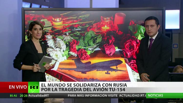 El mundo se solidariza con Rusia por la tragedia del avión Tu-154 siniestrado en el mar Negro