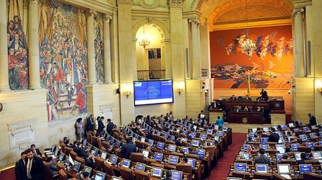 La Cámara de Representantes del Congreso colombiano discute el nuevo acuerdo con las FARC en Bogotá, Colombia, el 30 de noviembre de 2016.