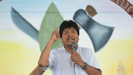 El presidente boliviano, Evo Morales, en la ceremonia de homenaje a Fidel Castro en la ciudad de Cochabamba, Bolivia
