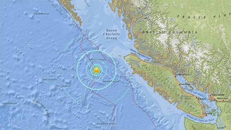 Un sismo de magnitud 5,7 sacude el océano Pacífico cerca de Canadá
