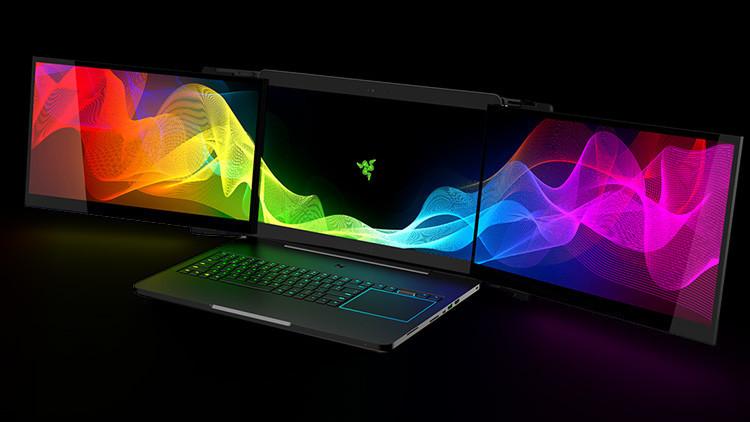 Ideal para 'gamers': crean un portátil con 3 pantallas de ultra alta resolución (video)