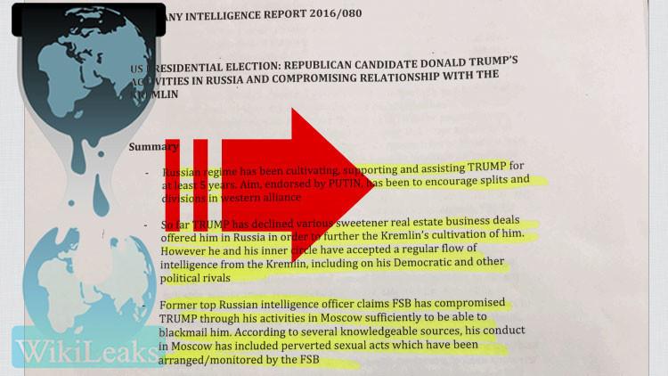 WikiLeaks tilda de falso el informe sobre que Rusia podría contar con información contra Trump