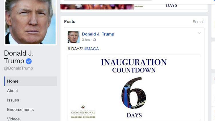 Trump publica en Facebook una cuenta regresiva para su asunción