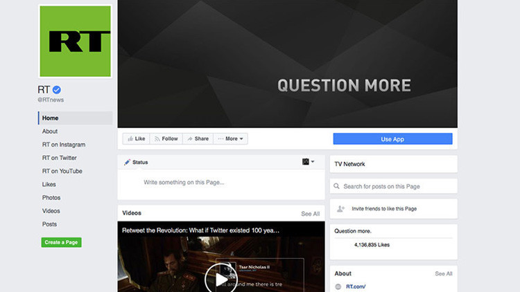 Facebook bloquea la cuenta de RT hasta después de la investidura de Trump