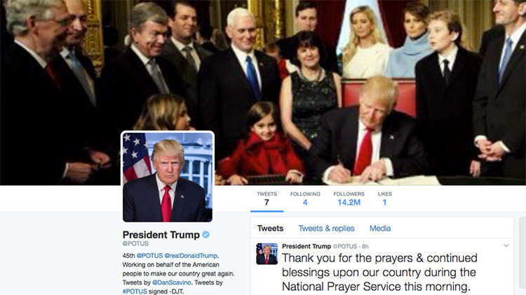 Un error de Twitter obliga a 560.000 usuarios a seguir la cuenta presidencial de Trump