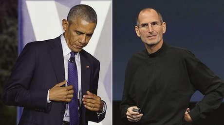 El presidente de EE.UU. Barack Obama (izquierda). El fundador de Apple Steve Jobs (derecha).