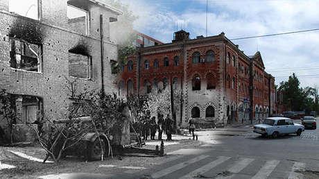 Puesto de bomberos, Stalingrado en 1942 y Volgogrado en 2013.