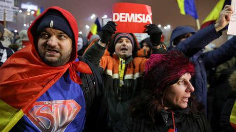 Manifestación en Bucarest para exigir la dimisión del Gobierno / 6 de febrero de 2017