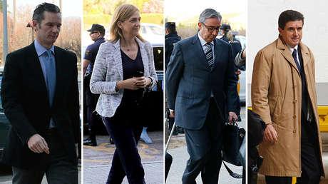 De izquierda a derecha, Iñaki Urdangarín, Cristina de Borbón, Diego Torres y Jaume Matas, principales acusados en el caso Nóos