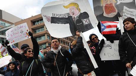 Manifestantes durante el 'Día sin Inmigrantes' en Washington, DC.