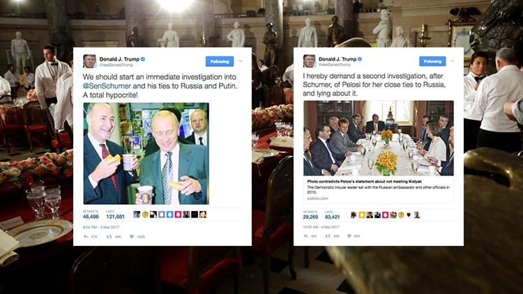 """""""¡Menudo hipócrita!"""": Trump publica una foto del líder demócrata de EE.UU. con Putin"""