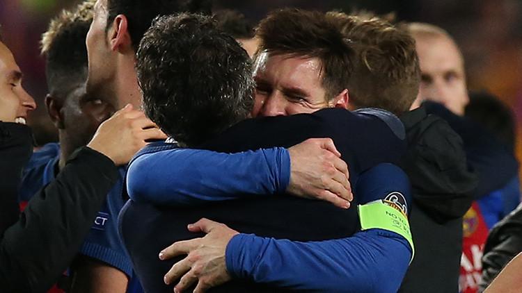 Video: Las cámaras captan la euforia de Messi durante el partido Barcelona-PSG