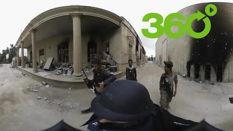 Video 360º: un equipo de la agencia Ruptly, bajo fuego de mortero en el Museo de Mosul