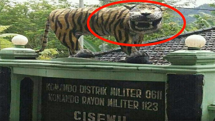 """""""Por divertida"""": Destruyen estatua de un tigre de un cuartel militar y desatan una catarata de memes"""