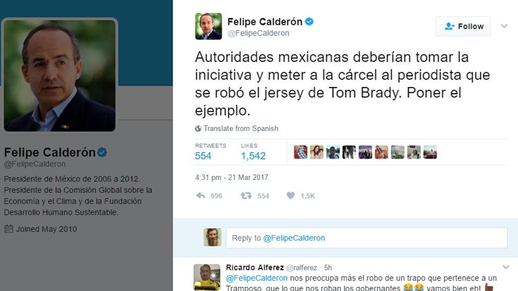 La Red no perdona: Internautas cargan contra Calderón por hablar de la camiseta robada de Tom Brady
