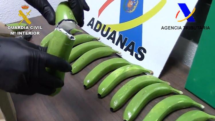 Hallan 17 kilos de cocaína en España ocultos en un cargamento de plátanos (VIDEO)