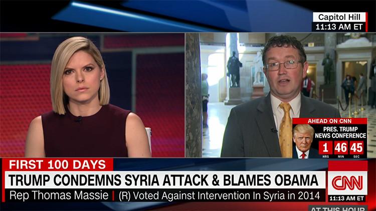 VIDEO: Congresista deja 'de piedra' a una presentadora de CNN con su opinión sobre el ataque químico
