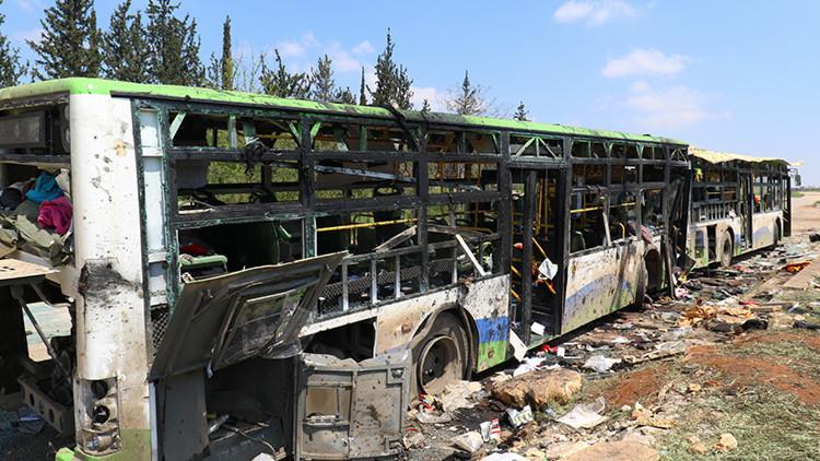 VIDEO: El momento de la explosión contra una caravana de autobuses cerca de Alepo