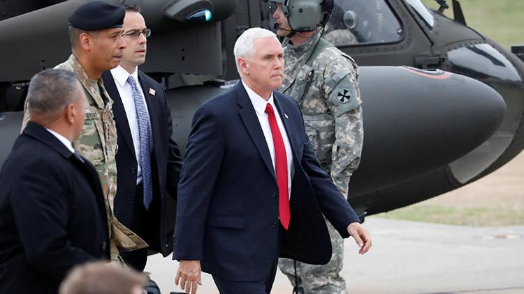 Mike Pence visita un campamento militar cerca de la zona desmilitarizada de Corea