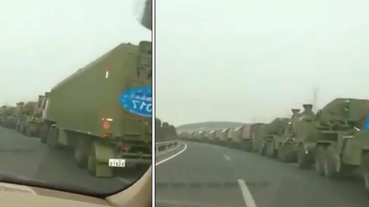 Video: Vehículos militares chinos se dirigen hacia la frontera con Corea del Norte