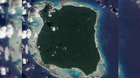 Imagen satelital de la isla Sentinel del Norte