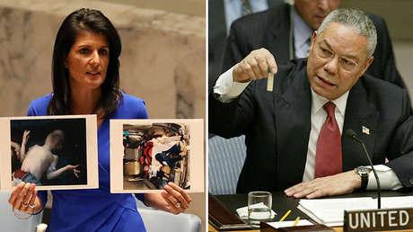 La embajadora de EE.UU. ante la ONU, Nikki Haley, en 2017, y el Secretario de Estado Colin Powell, en 2003