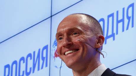 Carter Page durante una presentación en Moscú, Rusia, el 12 de diciembre de 2016.