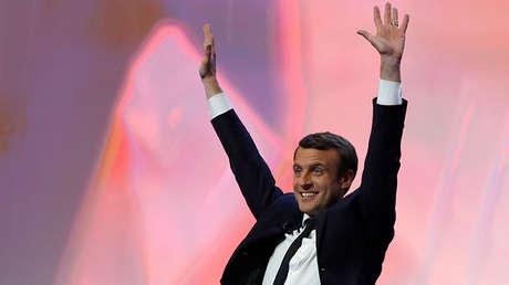 Emmanuel Macron, candidato de En Marche! a la presidencia francesa en París, el 23 de abril de 2017.