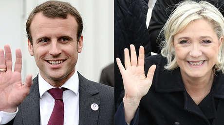 Candidato a la presidencia de Francia, Emmanuel Macron (izquierda) y su rival, Marine Le Pen, del Frente Nacional.