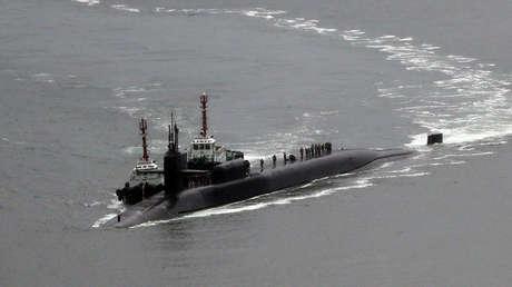 El submarino nuclear estadounidense USS Michigan en el puerto surcoreano de Busan.