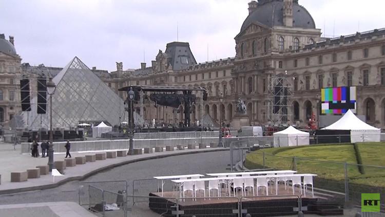 VIDEO: Evacúan la plaza cerca del Louvre donde Macron celebraría su victoria