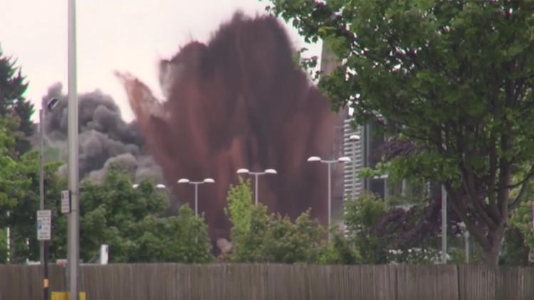 VIDEO: Un dron capta la espectacular detonación de una bomba de la Segunda Guerra Mundial