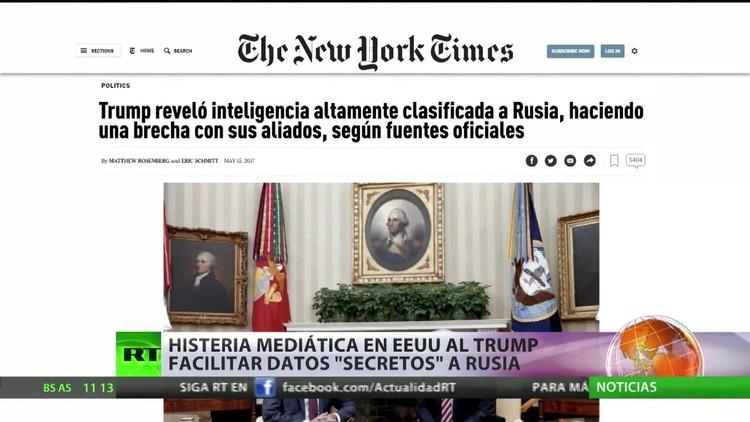 """EE.UU.: Histeria mediática por la revelación por parte de Trump de datos """"secretos"""" a Rusia"""