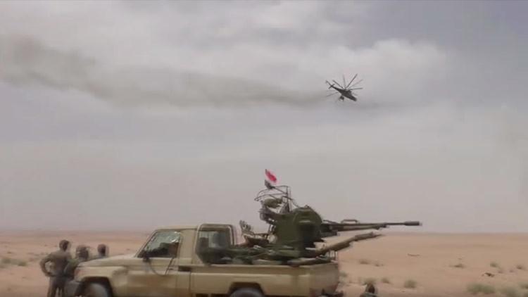 VIDEO: Helicópteros rusos muestran su capacidad de fuego durante una ofensiva del Ejército sirio