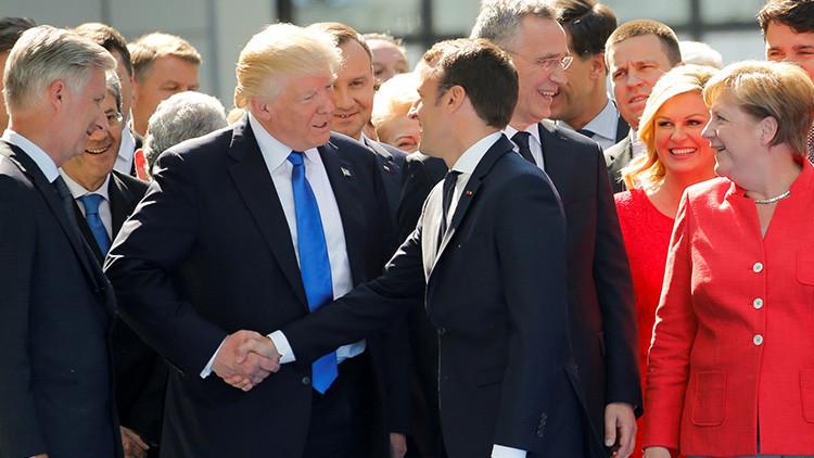 Macron intenta esquivar la 'mano dura' de Trump durante la cumbre de la OTAN (VIDEO)