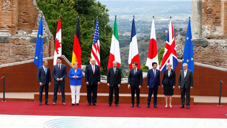 Trump monta en un carrito de golf durante el G7 en lugar de caminar junto a los otros líderes